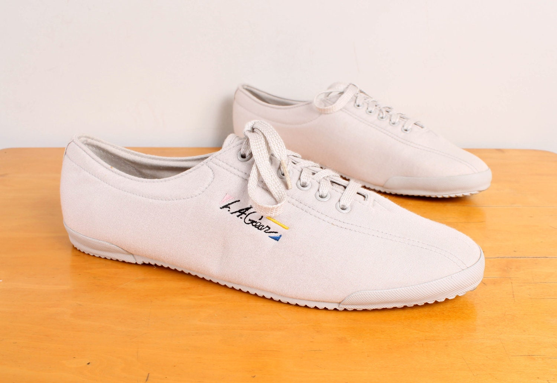items similar to 1980s la gear sneakers grey canvas 80s