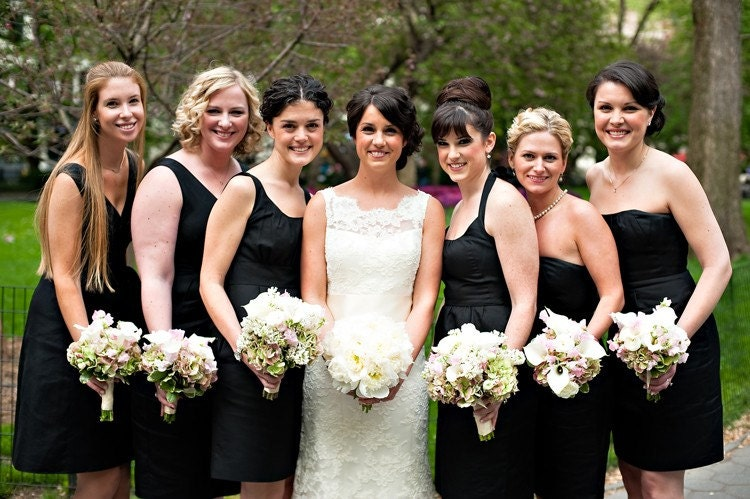 Bride + Black Bridesmaid Dresses in Pose