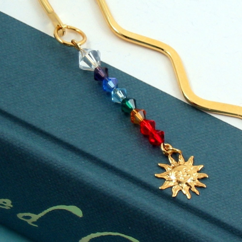 Rainbow Crystal Chakra Bookmark w Sun Charm Gold Plated - Energy and Enlightenment