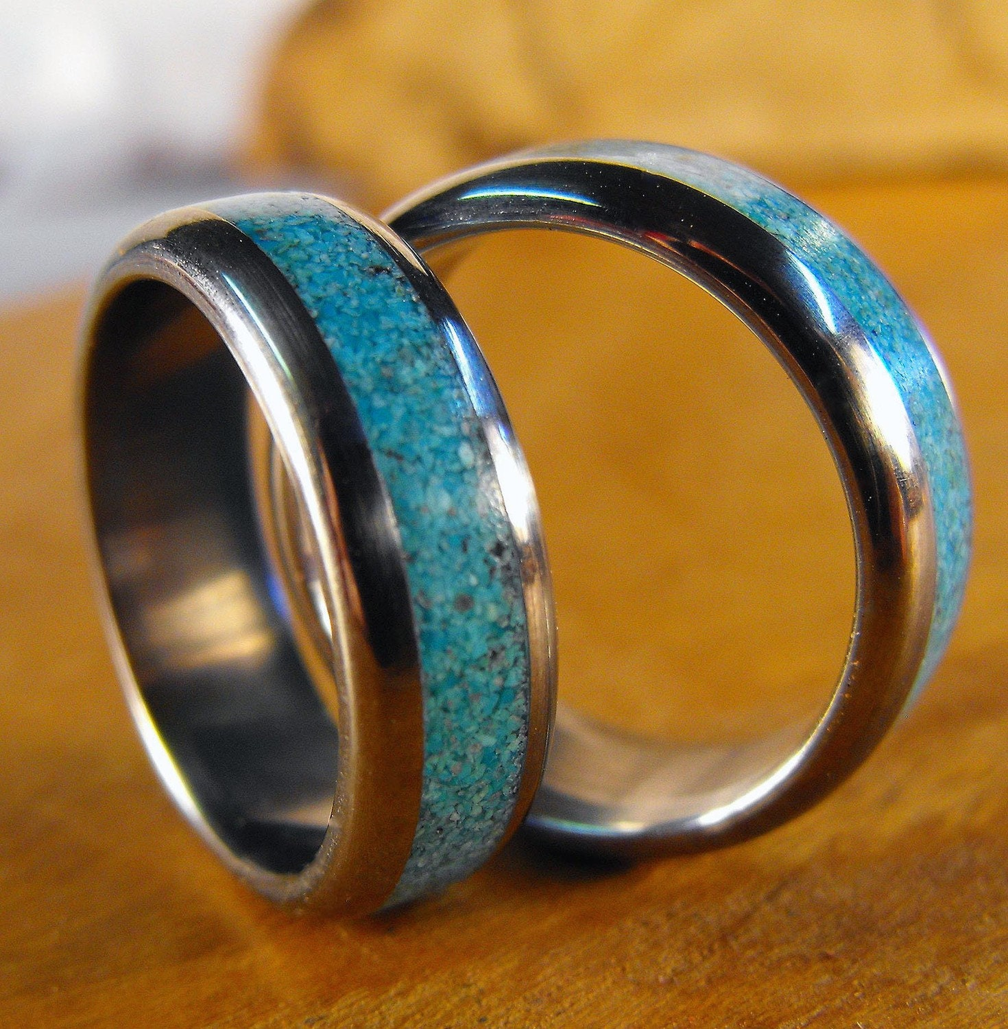 Titanium And Turquoise Inlay Wedding Band Set Custom By