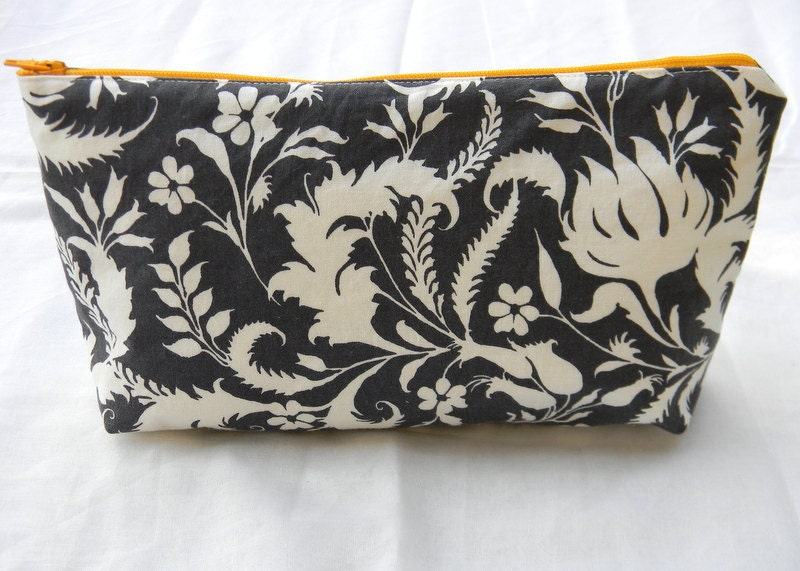 Large charcoal zippered cosmetic pouch