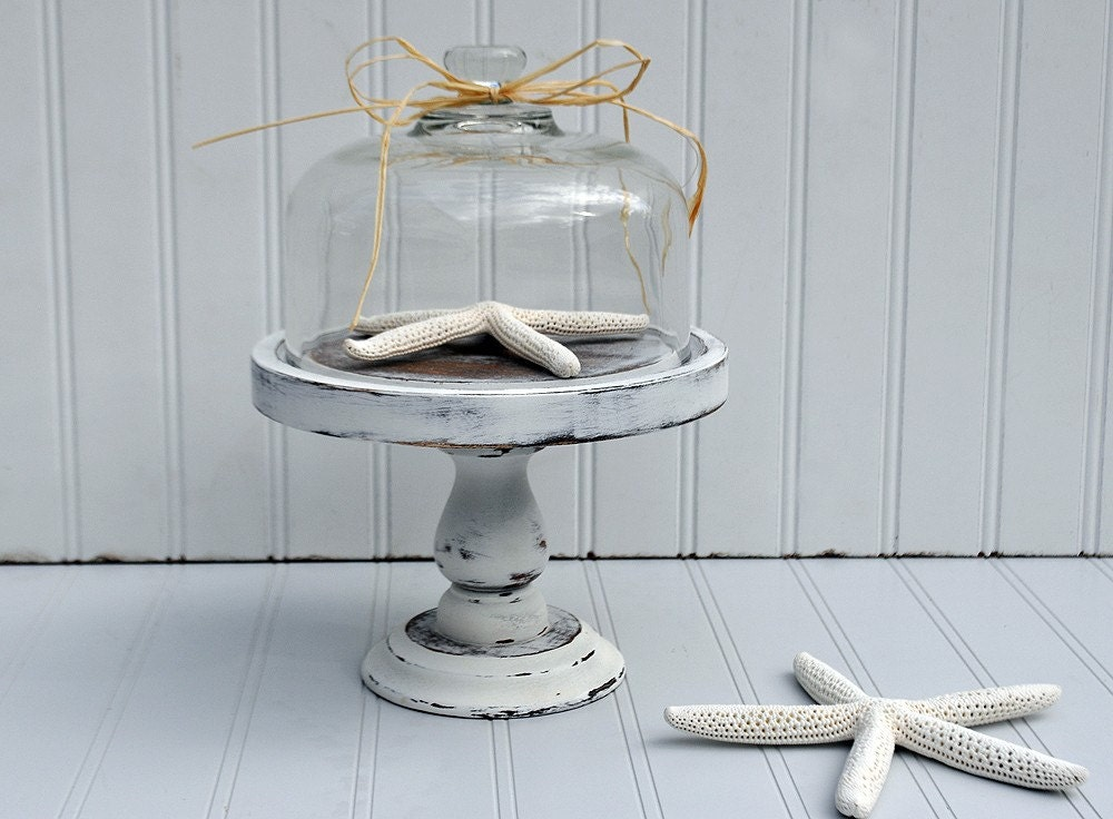 Beach  Cottage Shabby White Pedestal  Cloche And Starfish Specimen