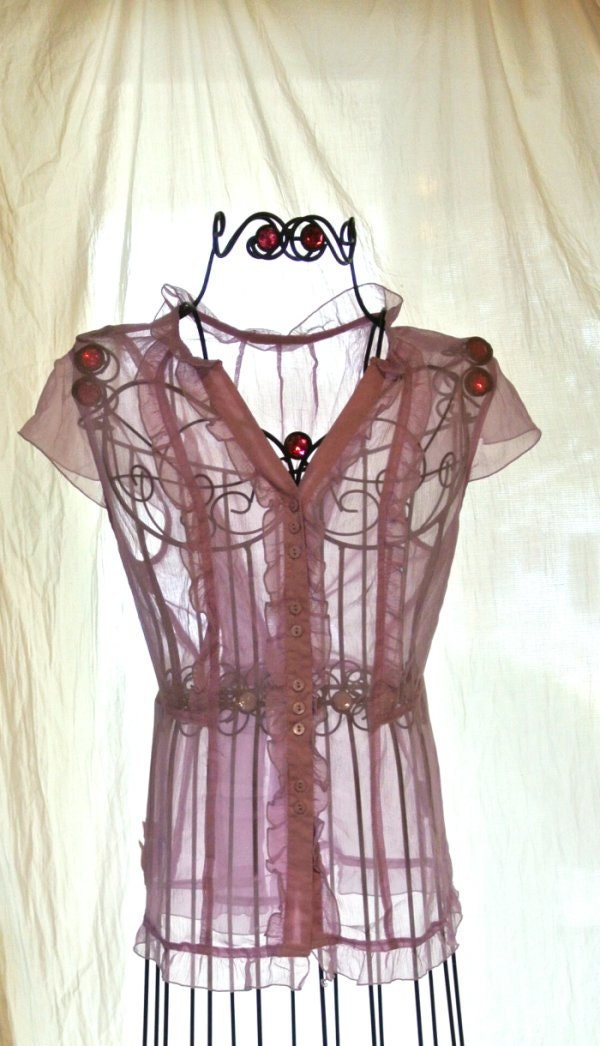 Romantic Sheer ruffle Shirt Valentines Purple Shabby chic Blouse Rustic Glam Gypsy Rose Vintage Top Large - TrueRebelClothing