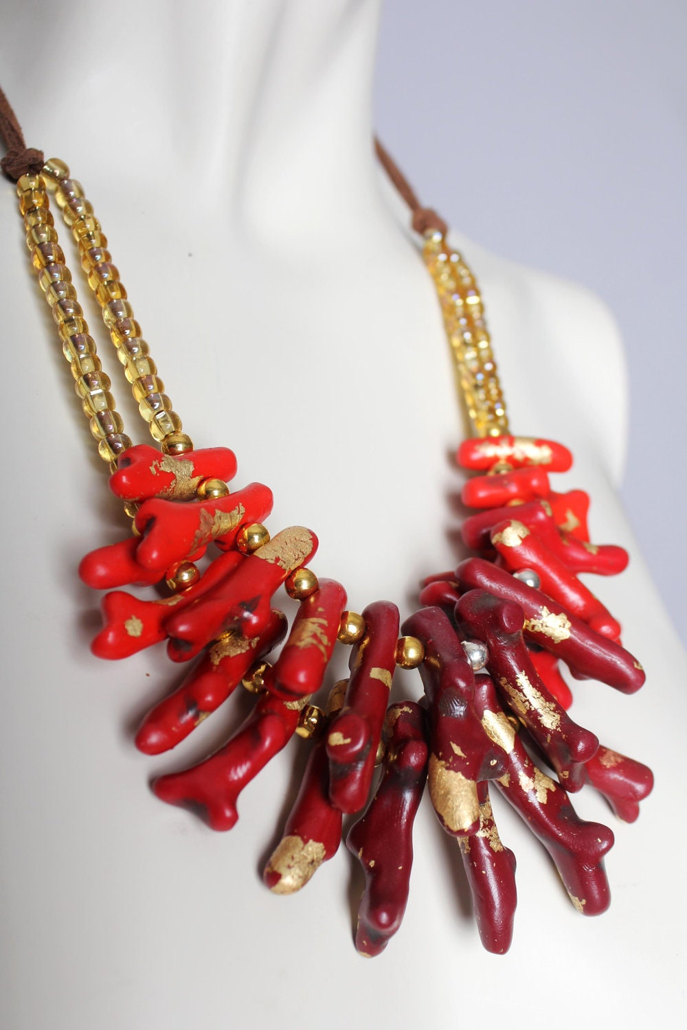 red coral necklace handmade ombre dip dye bib