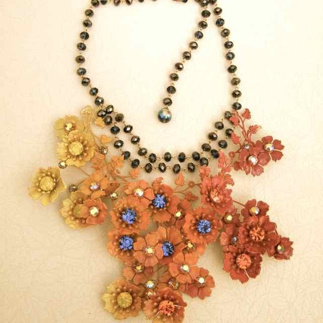Poppies on fire  color wave statement necklace