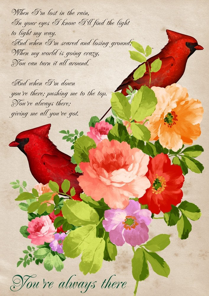 You're always there - Poster print collage with cardinals birds in vintage style - size 8,268 X 11,693 inches