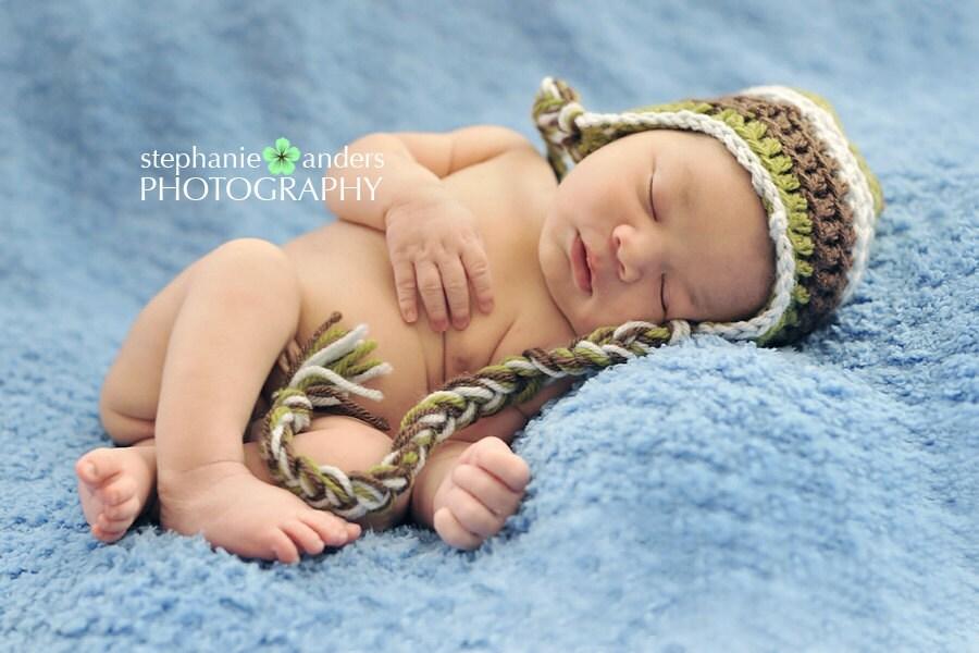 Rain Forest Baby Beanie- Green, Brown, Blue- photo prop