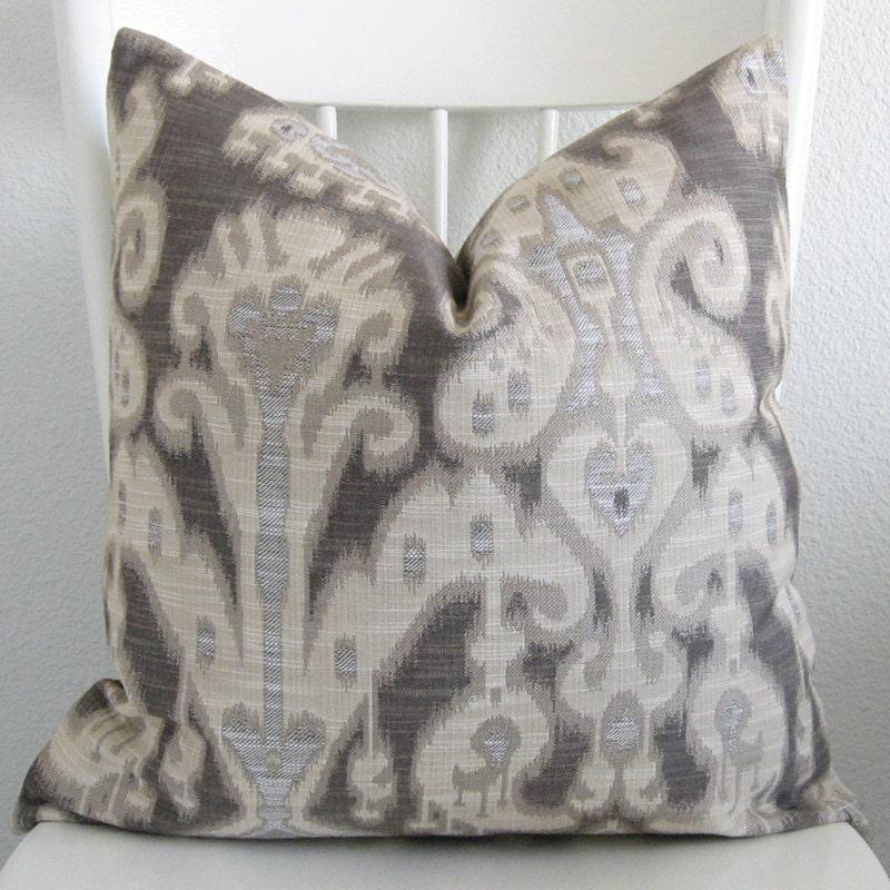 Decorative pillow cover - Throw pillow - Ikat pillow - 16x16 - Ivory - Gray - Dark gray - Kravet - Designer fabric