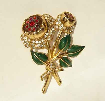 Vintage 40s Coro Trembler Brooch Rhinestone Flower Enamel Pin - metroretrovintage