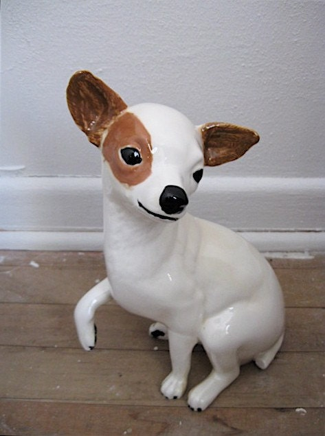 Vintage Ceramic Life Size Chihuahua Figurine By