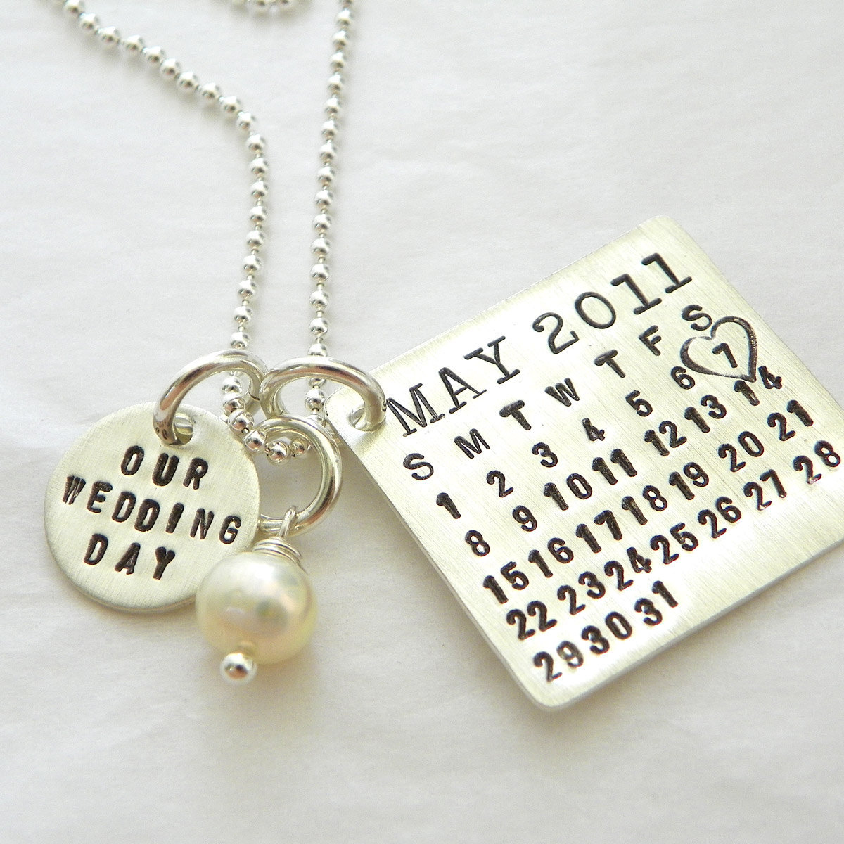 Our Wedding Day Mark Your Calendar Necklace (tm) - personalized sterling silver necklace with pearl