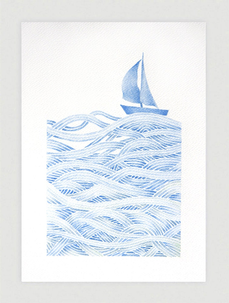 Sailboat illustration blue print of watercolor painting by