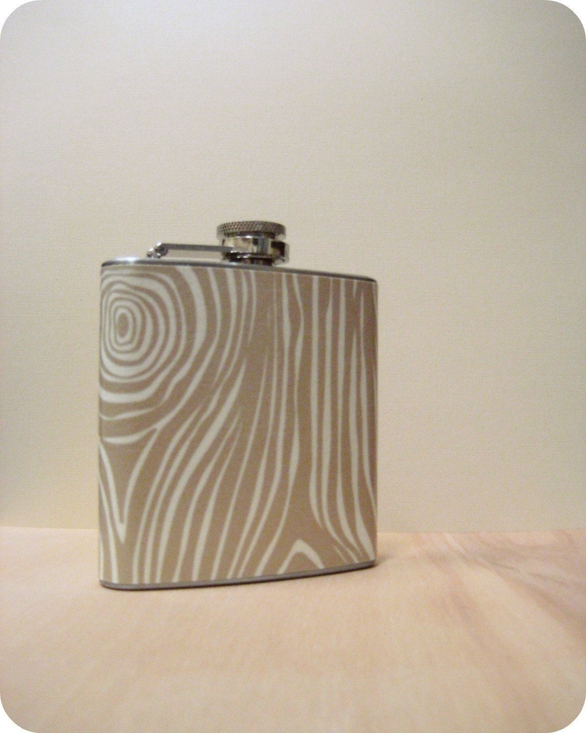 6 oz Stainless Steel Flask - Faux Bois in Soft Brown and Cream