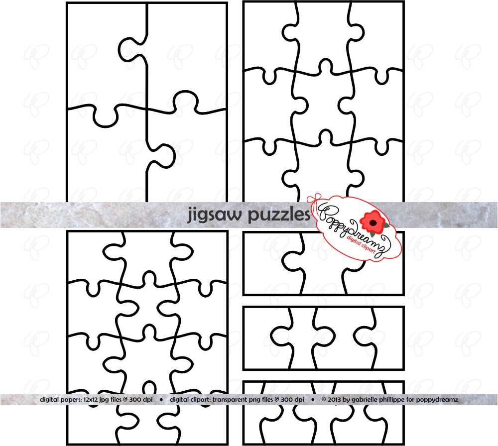 Jigsaw Puzzle Template PDF and Clipart SET: (300 dpi) School Teacher ...