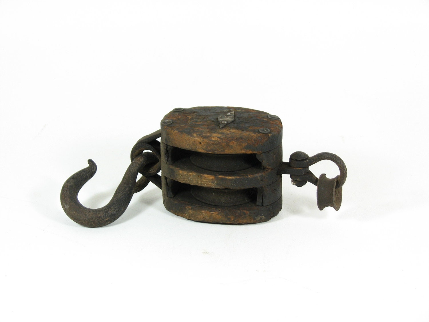 Vintage Wood Pulley Cast Iron Hook Amp Double By Bridgewoodplace