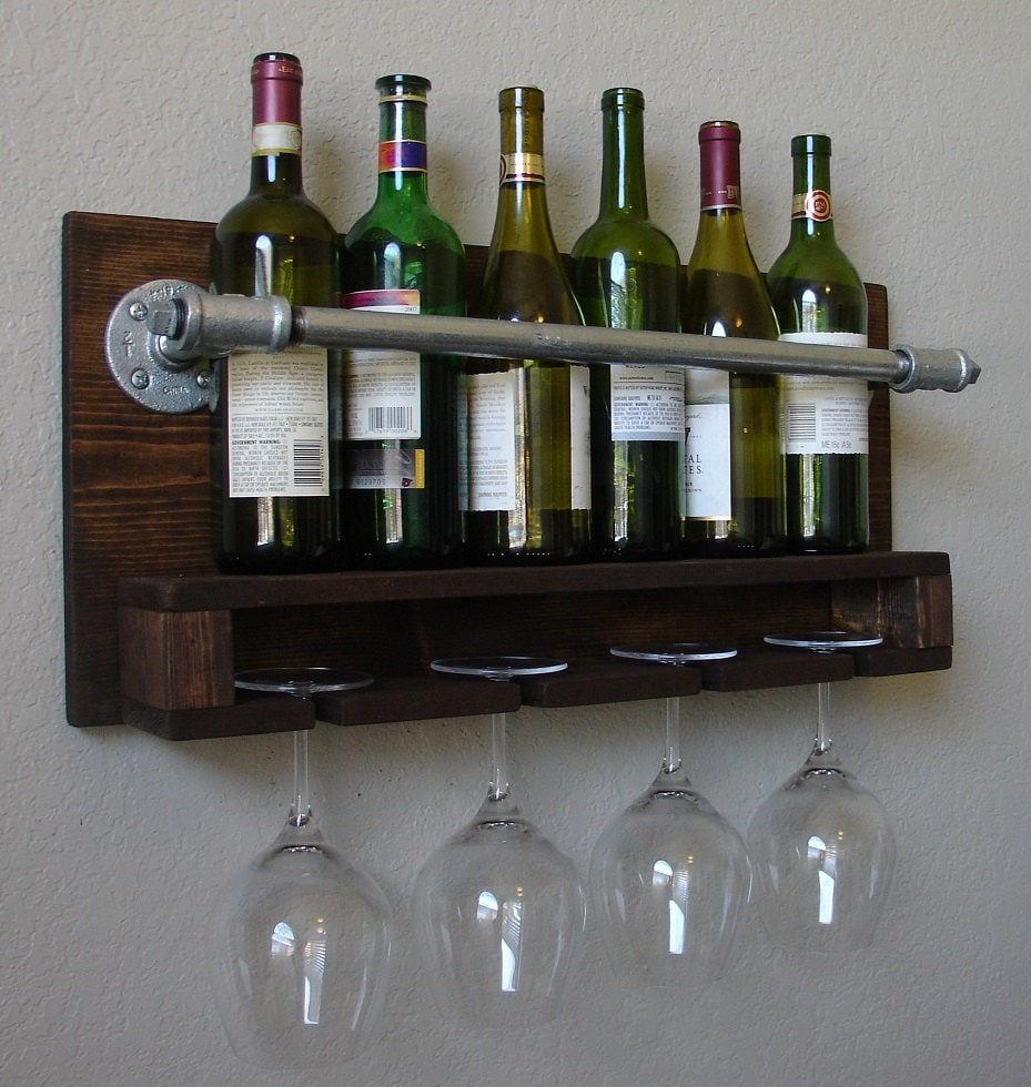 Industrial Rustic Modern 6 Bottle Wall Mount Wine Rack By