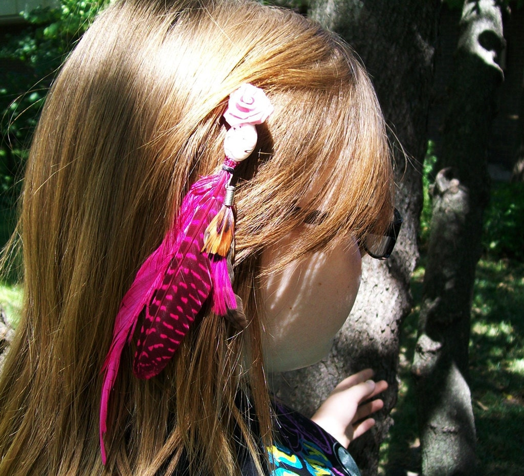 Pink Rose Feathered Hair Extension Barrette