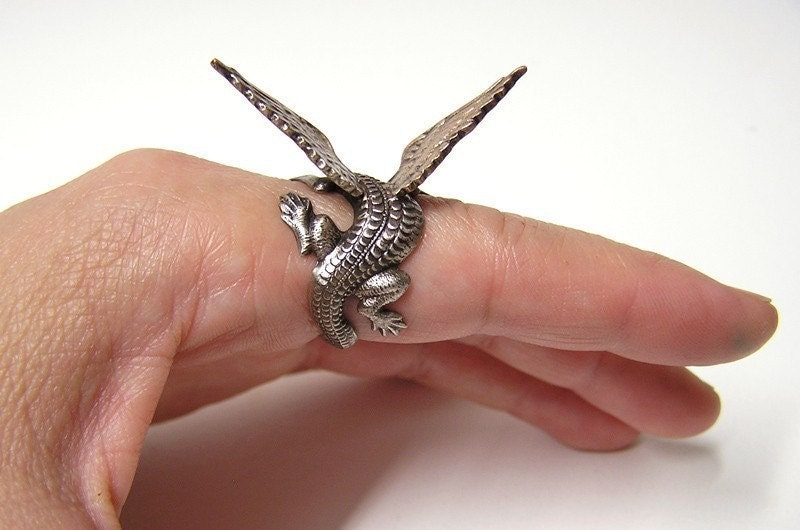 Steampunk Dragon Ring dragon body wrap around by chinookhugs from etsy.com