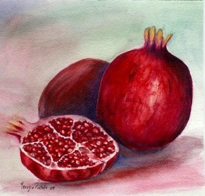 pomegranate -WATERCOLOR ORIGINAL PAINTING -