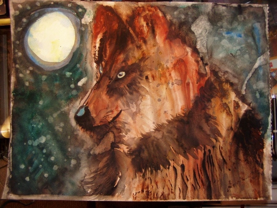 BLUE MOON WOLF, Original Watercolor Painting 18 x 24 inches OOAK