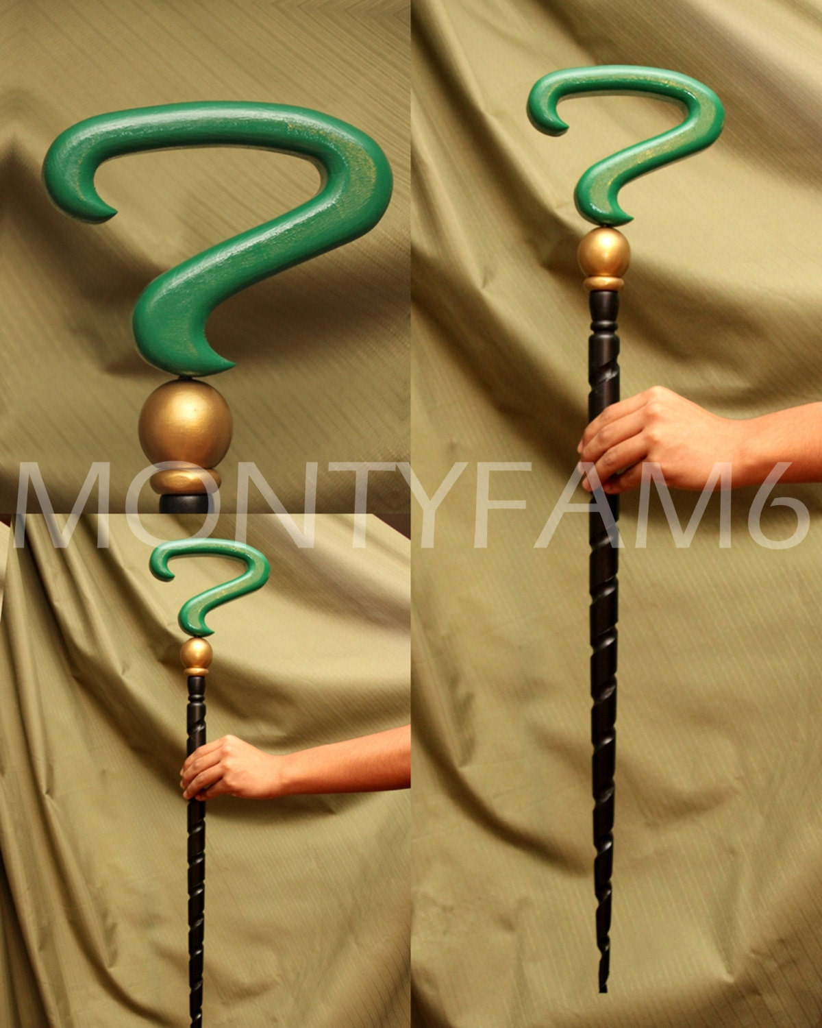 Riddler Cane Green Black Spiral Question Mark Costume By