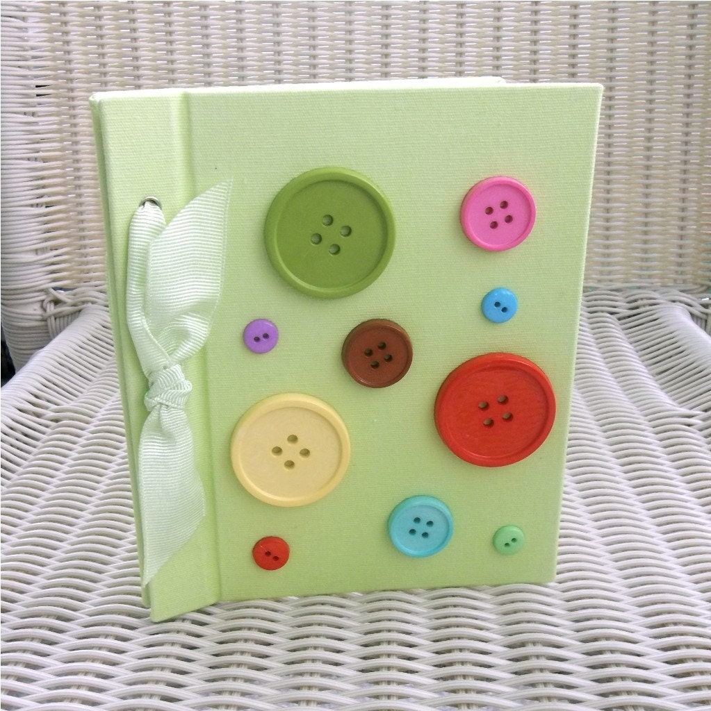 Photo Album, Bright Green Fabric, Buttons, Bow
