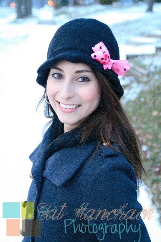 Black Fleece Cloche Hat With Removable Pink Polka Dot Bow