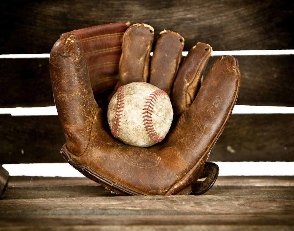 Items Similar To Vintage Small Baseball Glove And Ball