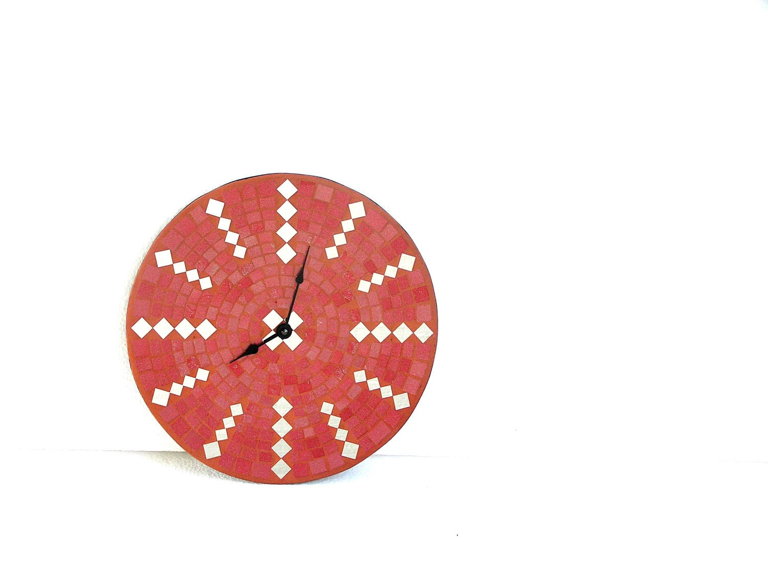 Red wall clock large home decor terracotta modern - SirliMosaic