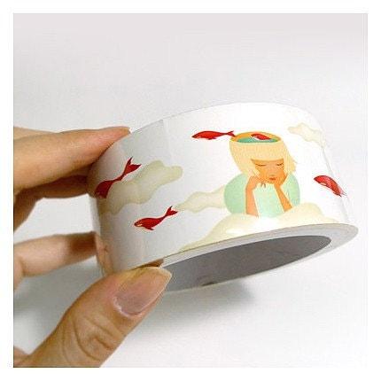 Transparent Red Whale Illust Deco Tape