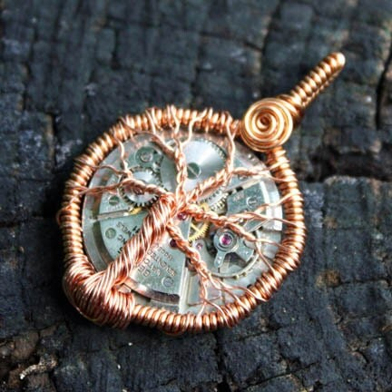 Steampunk Copper Wire Wrap Tree of Life 3D Sculpture Pendant