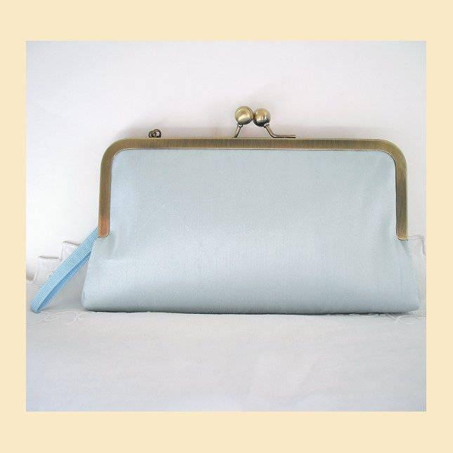 Wedding clutch bag wristlet purse blue silk silk bridal purse bridesmaids purse bridesmaid clutch