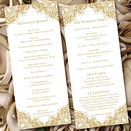 Wedding Ceremony Program Template Vintage Gold By