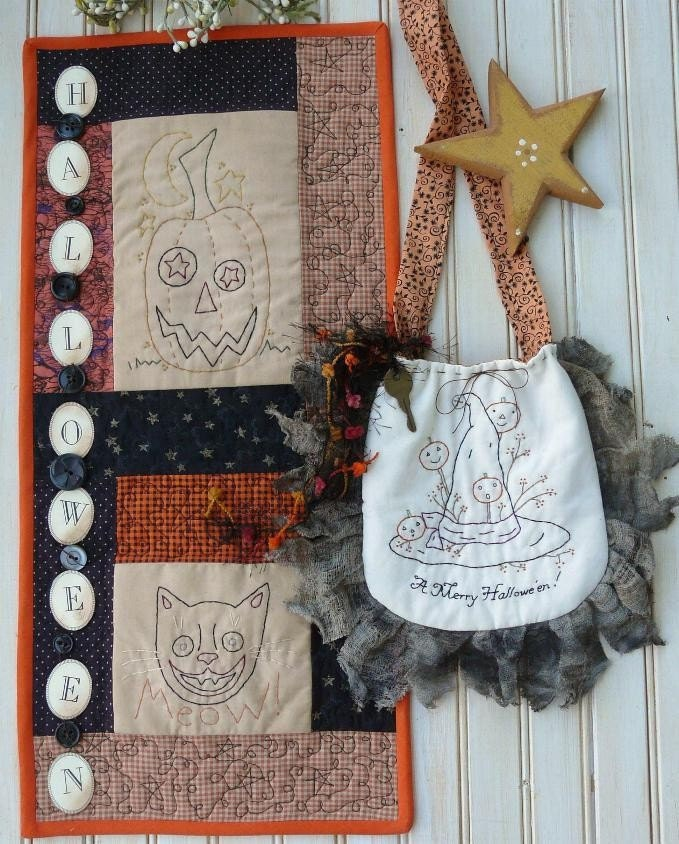 Merry HALLOWEEN purse and wallhanging E PATTERN - primitive vintage tag embroidery witch stitchery pumpkin black cat quilt
