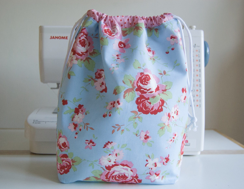 Large Handmade Waterproof ToiletryWashDrawstring Bag  Pretty  Cath Kidston  Ikea Rosali  Blue
