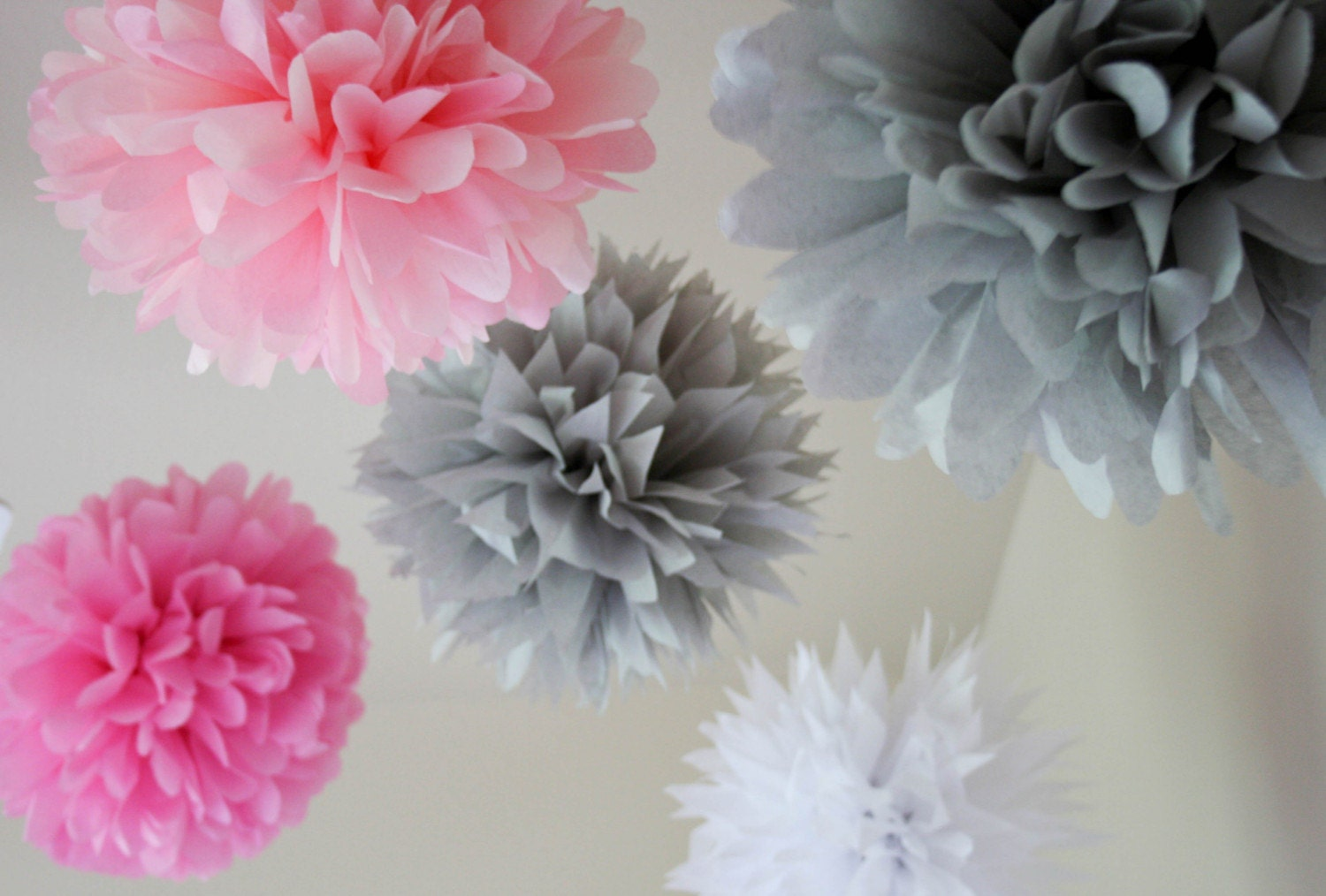 Dusty Rose - set of 5 poms