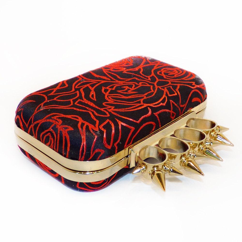 Minaudire Silk Clutch Box Bag  Evening Purse Spikey Knuckleduster Punk Black  Red Roses  McQueen handmade gift Gothic wedding