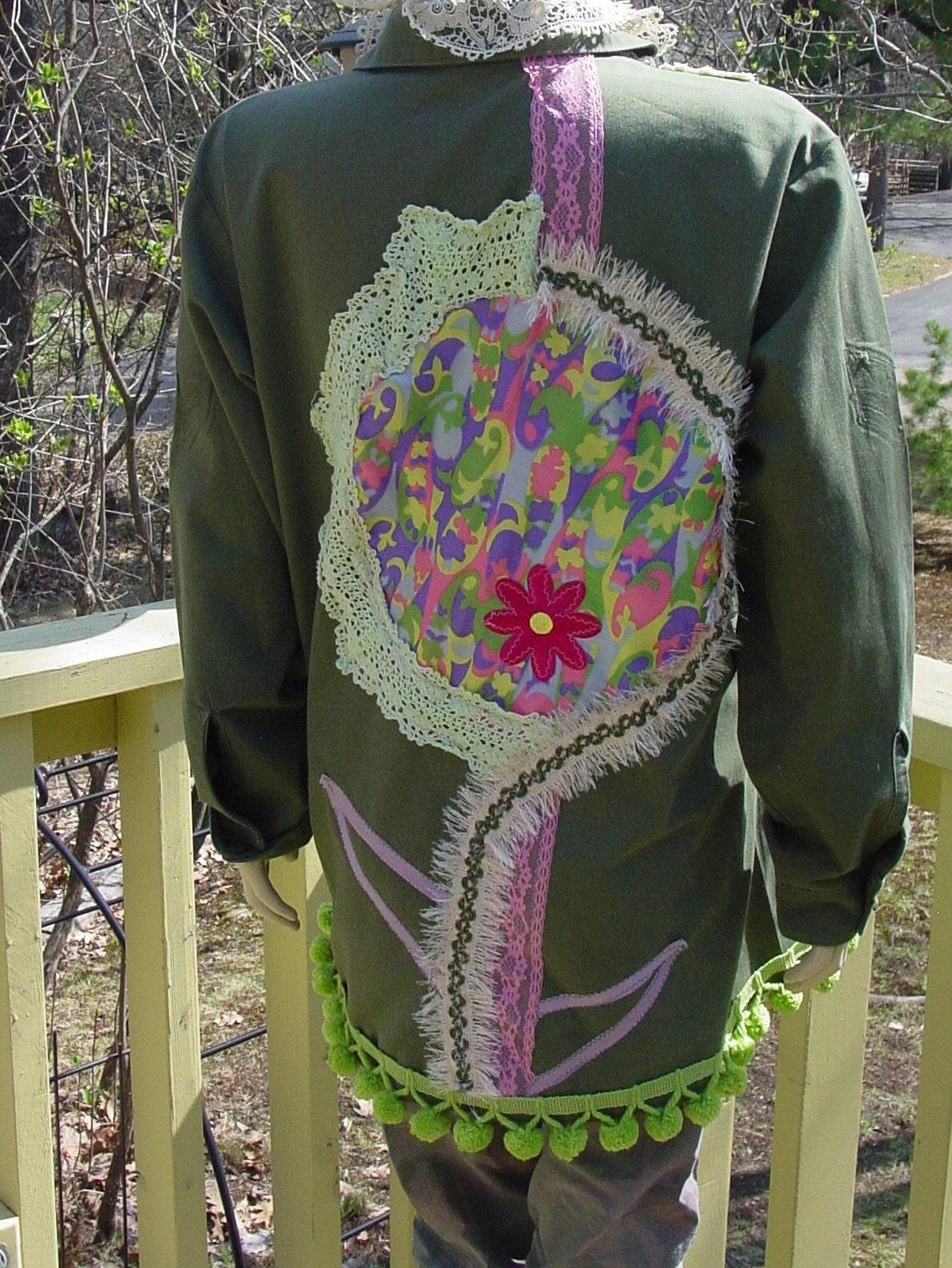 alerted OOAK vintage military jacket by recycled artist C.Reinke. FLOWER POWER