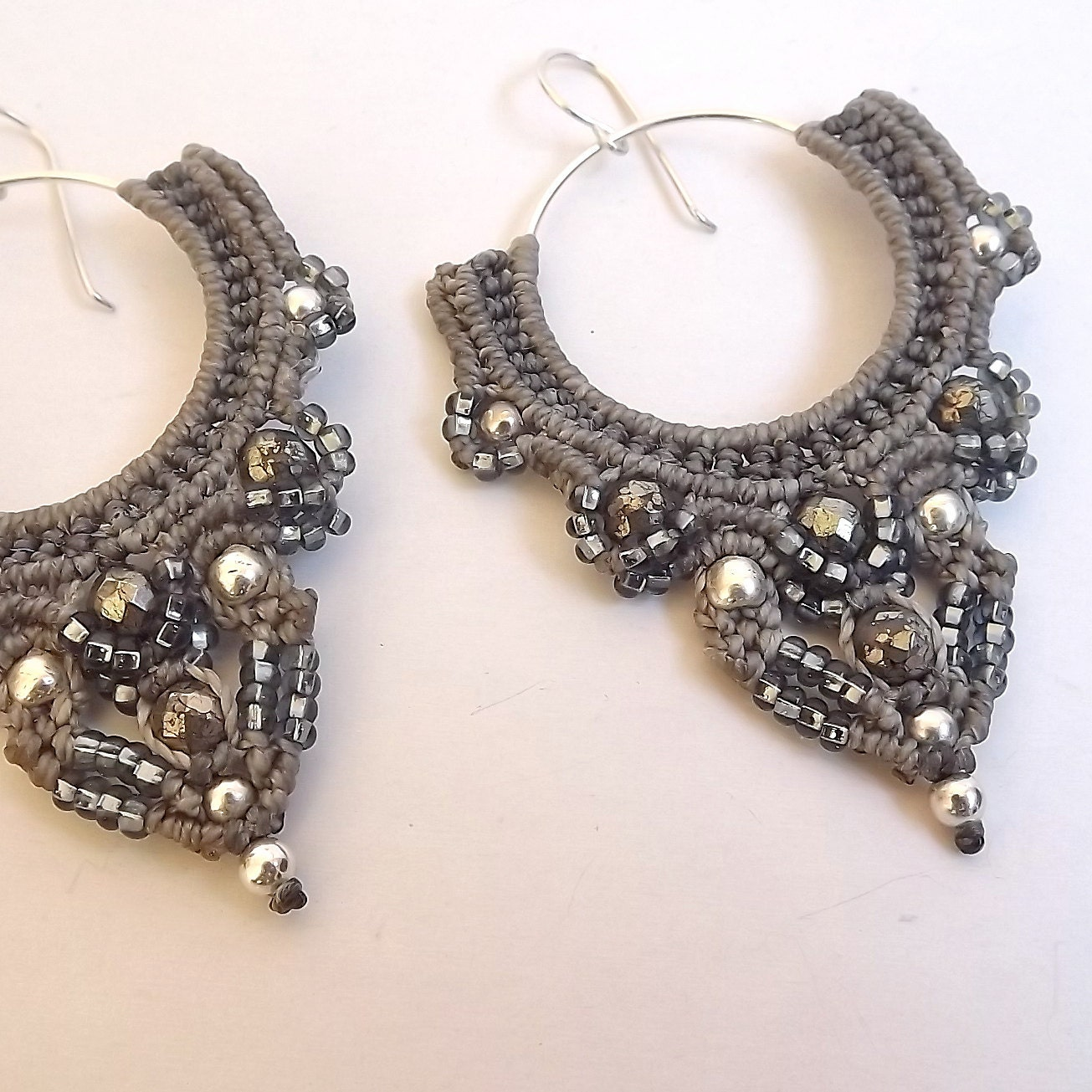 Macrame Earrings - Shades of Gray, Silver and Pyrite - neferknots