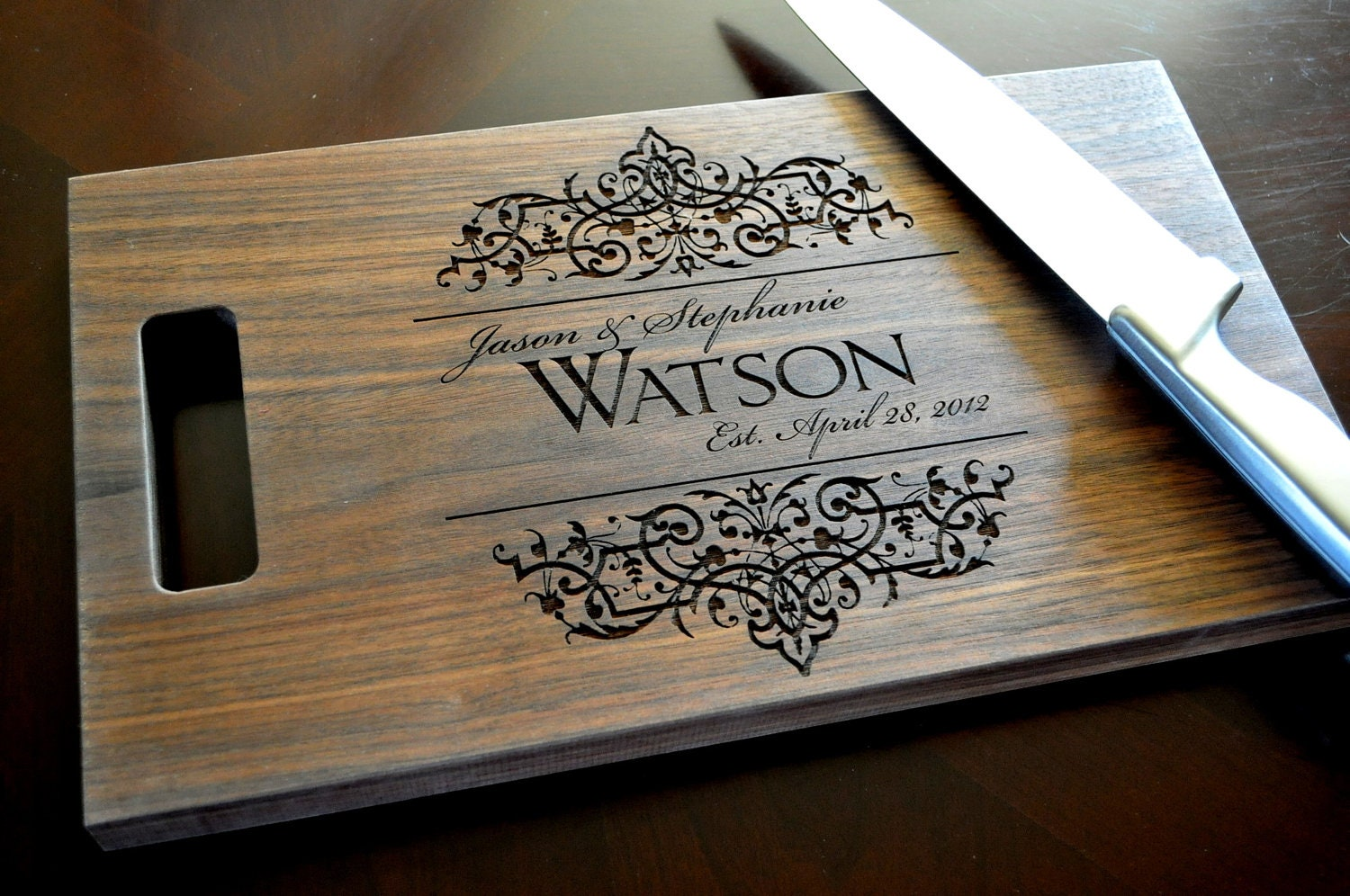 Personalized cutting board laser engraved by mrcwoodproducts - Engraved wooden chopping boards ...