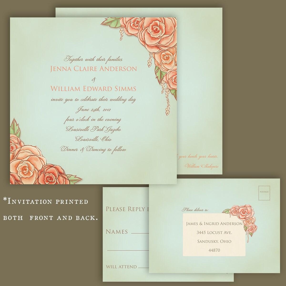 Vintage Rose Garden Wedding Invitation Hand By FeliceDesign