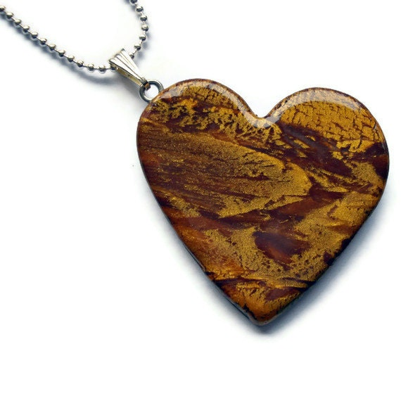 Heart pendant  brown and gold marble effect by KireinaJewellery |  Craft Juice