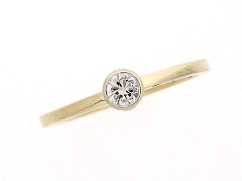 Simple Diamond Engagement Ring by CreativeGoldsmith on Etsy