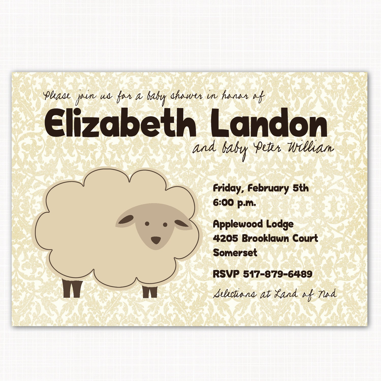 lambie baby shower invitation sheep little lamb