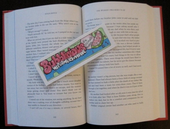 Handmade Pen & Ink Artwork, One of a Kind Bookmark, Pink, Green, Blue Watermelon Bubble Gum, Fun, Nostalgic