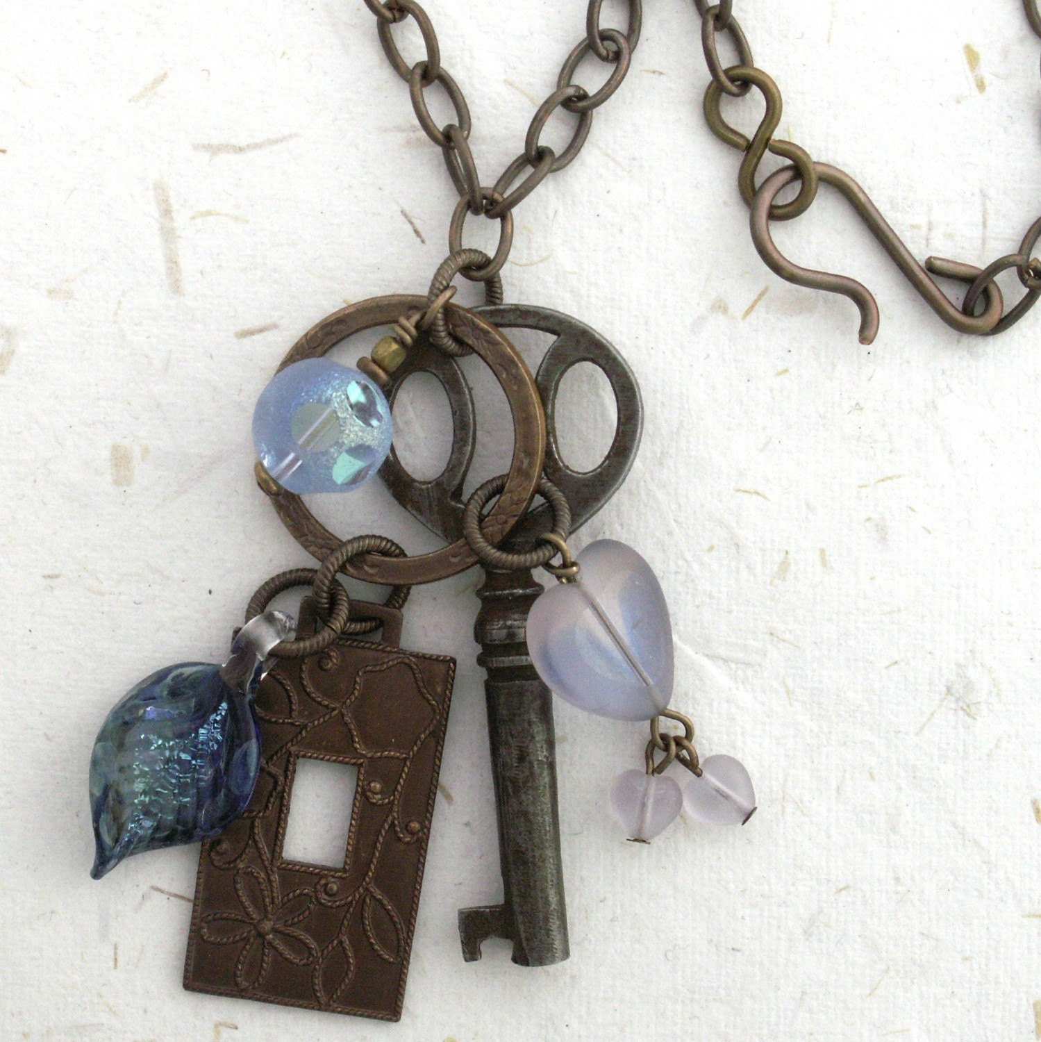 necklace brass antique key escutcheon blue vintage glass bead