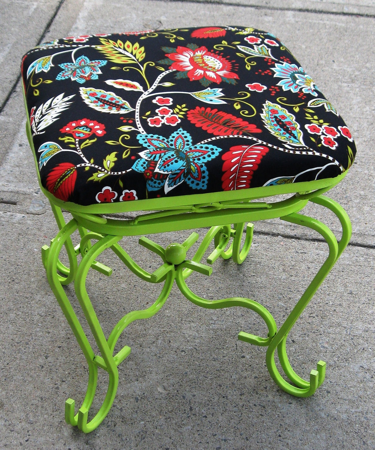 Upcycled Metal Lime Green Square Bench - SOLD SOLD SOLD