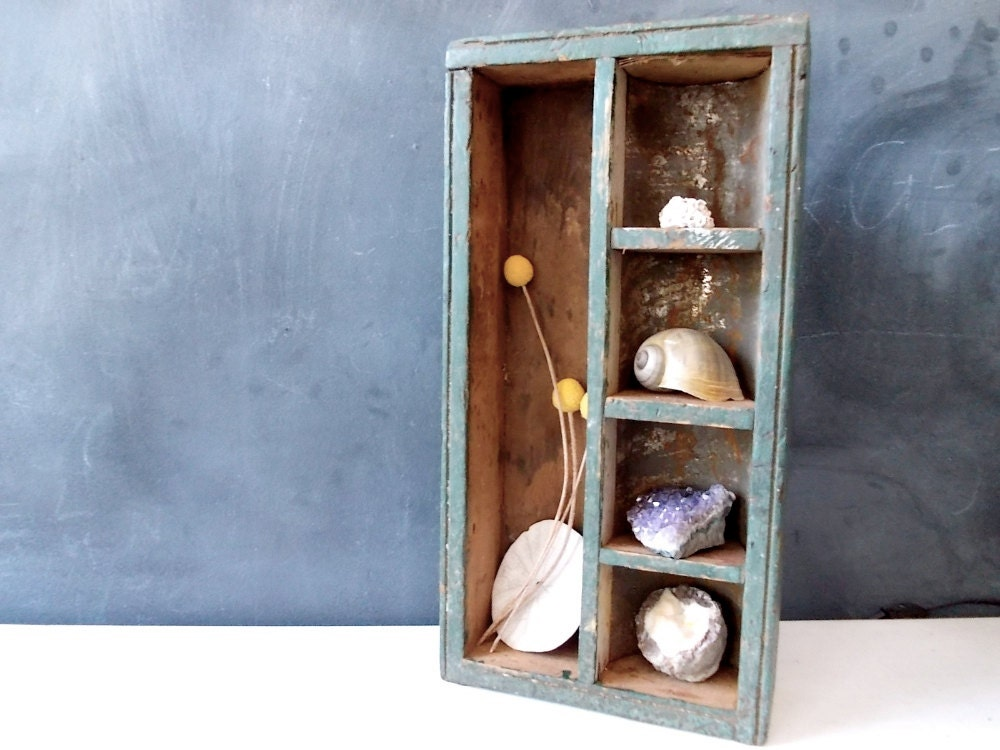 Antique Metal Wood Box Or Curio Cabinet Rustic Wooden Shelf With