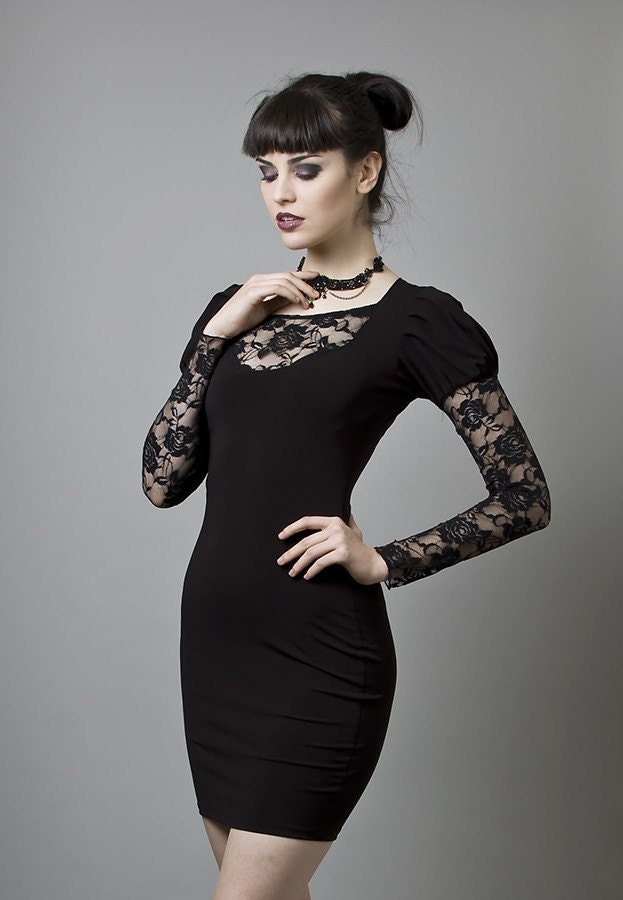 Black Rayon and Lace Cocktail Dress-Made to measure (Your Size)