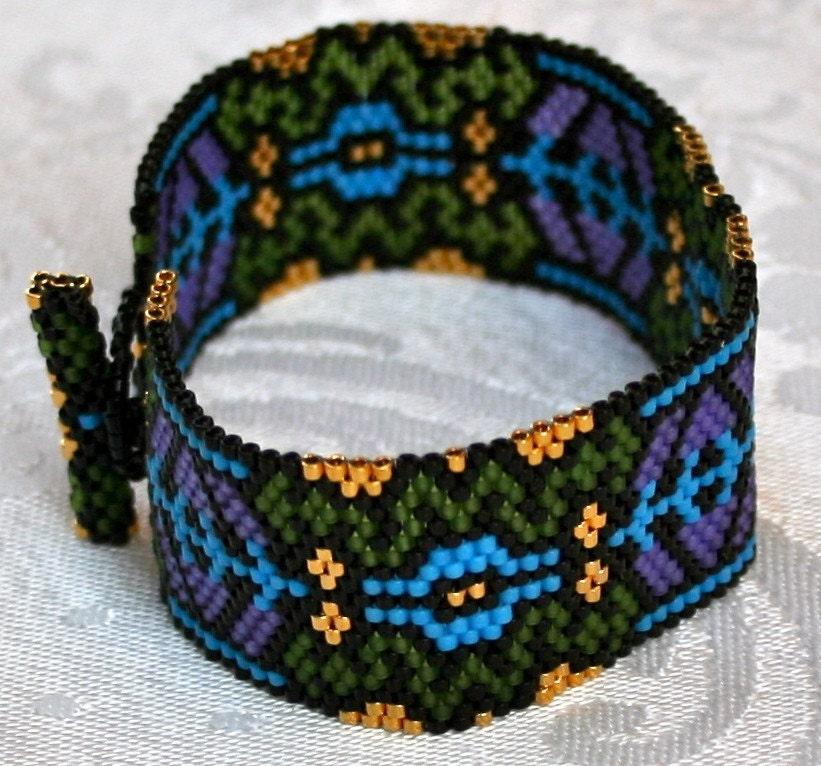 Vineyard Windows Peyote Cuff Bracelet